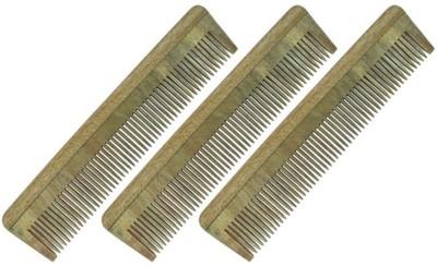 Prakrita Handicraft Fine Tooth Comb Made of Neem Wood (Pack of 3)