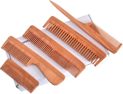 Uncommon Stuffs Gift Set of 5 Hair Combs Made of Neem Wood