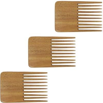 Prakrita Handicraft Beard Comb Made of Neem wood (Pack of 3)