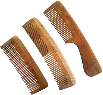UCS Uncommon Stuffs Family Set Of Neem Wood Combs (Set Of 3 Combs)