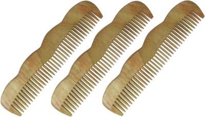 Prakrita Handicraft Beautiful Wide Tooth Comb By Neem Wood (Pack of 3)