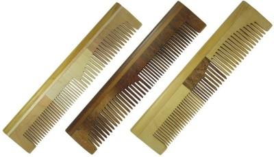 Prakrita Handicraft Stylish Colourful Comb Made of Neem wood (Pack of 3)