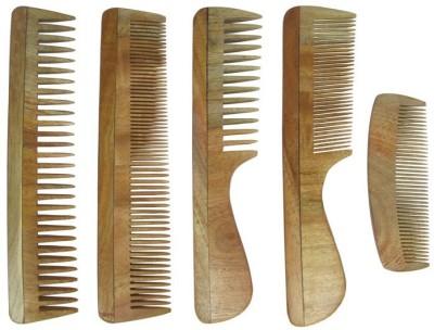 Prakrita Handicraft Pack of 5 Comb Made of Neem Wood
