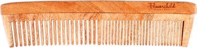 Flowerchild Handcrafted neemwood anti static & Dandruff- Dress Comb with mixed teeth
