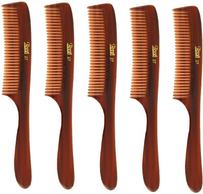 Roots Brown Fine Teeth Comb with Handle for Fine Hair - Pack of 5