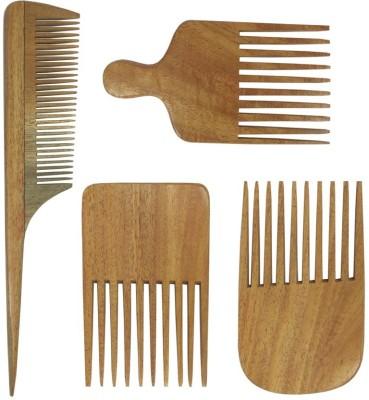 Prakrita Handicraft Pack of 4 Beard Comb Made of Neem wood