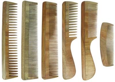 Prakrita Handicraft Pack of 6 Comb Made of Neem Wood