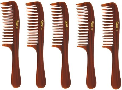 Roots Brown Wide Teeth Styling Comb for Volume - Pack of 5