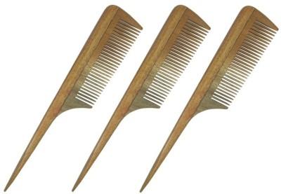 Prakrita Handicraft Rat Tail Comb Made of Neem wood (Pack of 3)