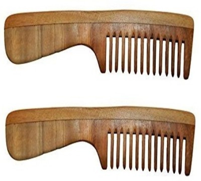 Majik Neem Wood Comb Set of 2 100% Handmade Anti-Dandruff