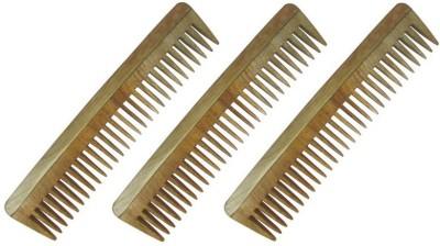 Prakrita Handicraft Wide Tooth Comb Made of Neem Wood (Pack of 3)