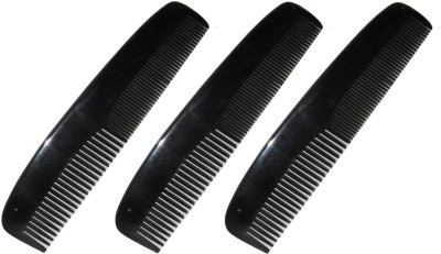 Prakrita Handicraft Wide And Fine Tooth Comb Made of Buffalo Horn - 6.50 Inch (Pack of 3)