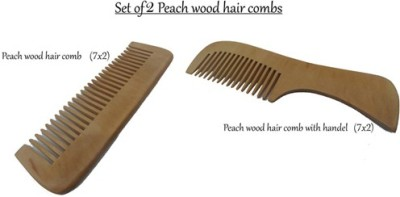 Msd 2 Pcs Peach Wooden Combs