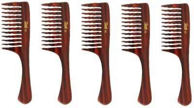 Roots Brown Wide Teeth Comb for Wavy/ Curly/ Thick - Pack of 5