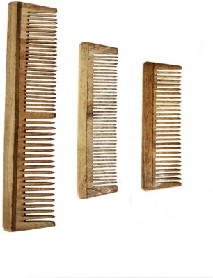Ginni Marketing Neem Wood Baby or Pocket Comb (Lengths 10.2cm & 12.9 cm) + Regular Comb (length 19.5 cm)