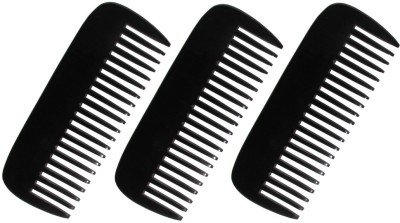Prakrita Handicraft Long Wide Teeth Comb Made of Buffalo Horn (Pack of 3)