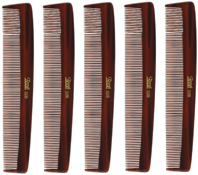 Roots Brown Fine Teeth Comb for Fine long Straight Hair - Pack of 5
