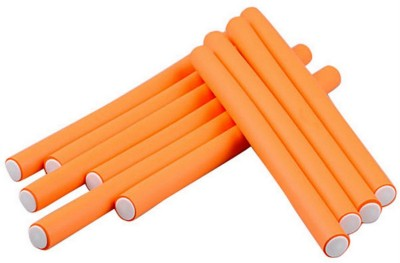 Beauty of Life 10 Curl Maker Soft Foam Bendy Styling Roller Orange Hair Curler(Orange) at flipkart