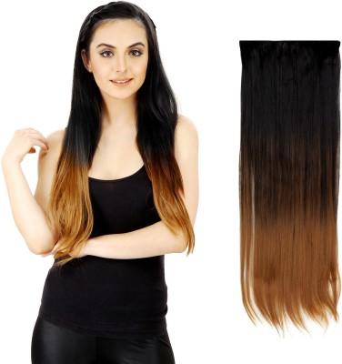Out Of Box Black Gold Heighted at bottom Straight Synthetic Hair Extension