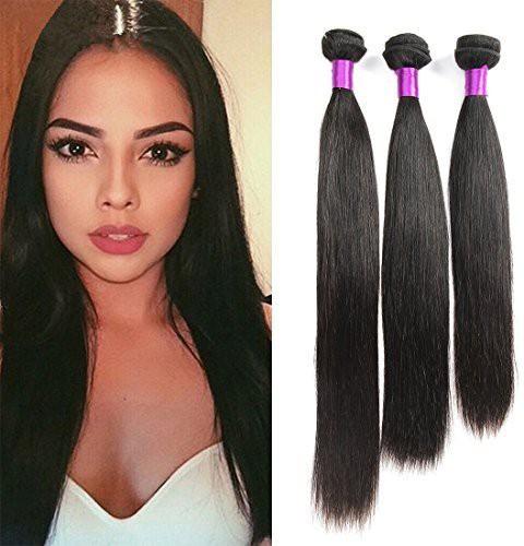 "Generic FeiBin 10"" 12"" 14"" Inch 3 Bundles Brazilian Virgin  Straight 100% Unprocessed Human  Natual Black Color 300g Total Hair Extension"