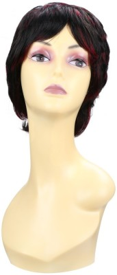 Wig-O-Mania Pippa Japanese Fibre Wig Natural Black with Wine Hair Extension