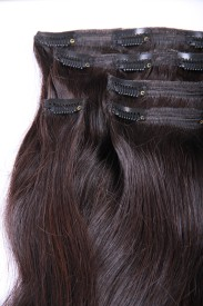 Majik Clip on Remy Human  Extensions Medium Brown, 22 Inches 22 inch Hair Extension