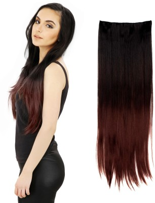 Out Of Box Black Burgundy Heighted at bottom Straight Synthetic Hair Extension