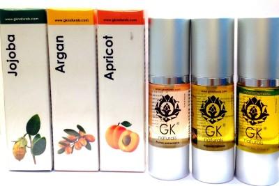 GK Naturals Hairgrowth Premium Combo - Argan, Apricot, Jojoba Hair Oil