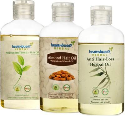 Healthbuddy Herbal Combo - Anti Dandruff Hair Oil + Almond Hair Oil + Anti Hair Loss Oil, 1 Bottle each of 200 ml Hair Oil