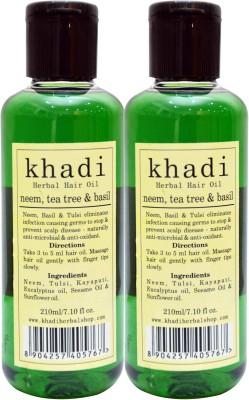 KHADI HERBALS Neem,Tea Tree & Basil [PACK OF 2] Hair Oil