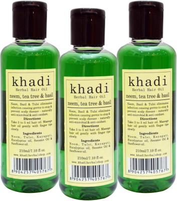 KHADI HERBALS Neem,Tea Tree, Basil [PACK OF 3] Hair Oil