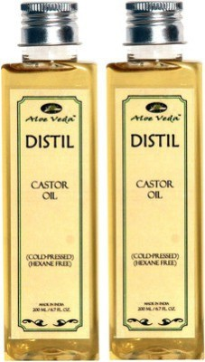 Aloe Veda Distil Cold-Pressed Hexane Free Castor Oil Combo Set Of 2 Hair Oil