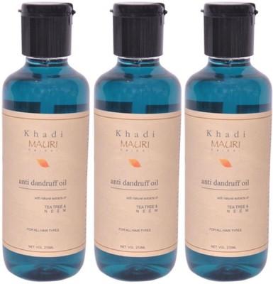 Khadimauri Anti Dandruff Hair Oil Pack of 3 Herbal Ayurvedic Natural 210 ml each Hair Oil