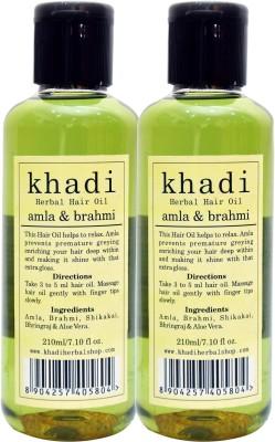 KHADI HERBALS Amla & Brahmi[ PACK OF 2] Hair Oil