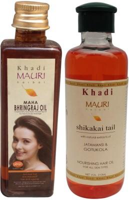 Khadimauri Maha Bhringraj 100 ml & Shikakai 210 m.l. Combo Pack Herbal Ayurvedic Hair Oil