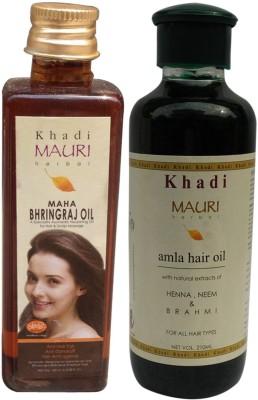 Khadimauri Maha Bhringraj 100 ml & Amla 210 m.l. Combo Pack Herbal Ayurvedic Hair Oil