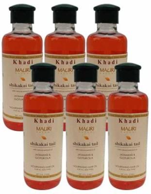 Khadimauri Shikakai Hair Oil Pack of 6 Herbal Ayurvedic & Natural 210 ml each Hair Oil
