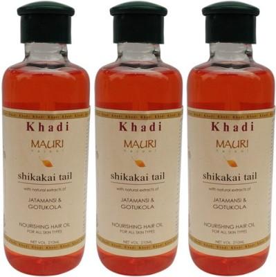 Khadimauri Shikakai Hair Oil Pack of 3 Herbal Ayurvedic & Natural 210 ml each Hair Oil