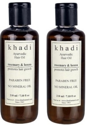 khadi Natural Ayurvedic Hair Growth Oil - Rosemary & Henna (Paraben Free)  Hair Oil