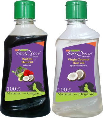 Hairocare Brahmi (200 ml) + Virgin Coconut (200 ml) - Medicinal Oil for Memory Power & Stress relief - Hair Oil(400 ml)