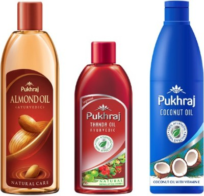 PUKHRAJ Almond, Thanda and Coocnut Hair Oil