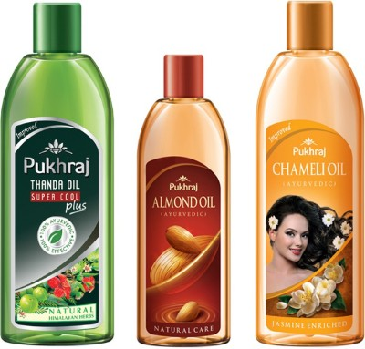PUKHRAJ Supercool Plus, Almond and Chameli Hair Oil