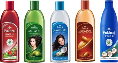 PUKHRAJ Thanda, Amla, Jasmine, Almond and Coconut Hair Oil