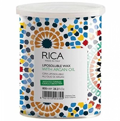 Rica Liposoluble Wax- With Argan Oil Wax-For All Types Of Skin 800Ml (28.2 Fl.Oz.)