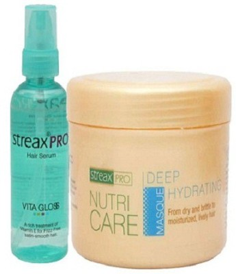 Streax Pro Hair Serum Vita Gloss 100 ml combo with nutri care deep hydrating masque(300 ml)