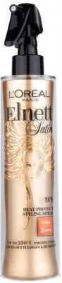 L,Oreal Paris ELNETT SATIN BOUCLES CURLS 230 c HEAT PROTECTION STYLING SPRAY Hair Styler