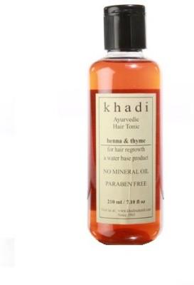 Khadi Natural Ayurvedic Hair Regrowth Tonic - Henna & Thyme (Paraben Free)(210 ml)