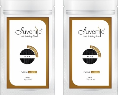 Juvenile Hair Building Fiber Hair Fibers Refill Bag Black 30gm Pack of 2 JVNLRB30BL2pc Extreme Hair Volumizer Powder(60 g)