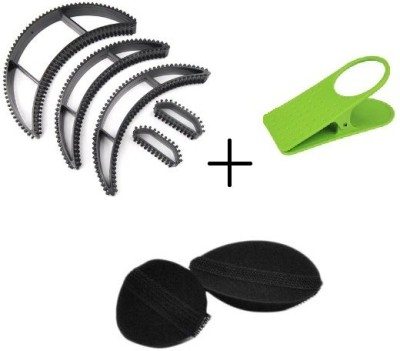 IBS Set Of 3 Plastic And Velcro Stylers Curlers Buns Puffs Bumpits With Clipholder Asd09 Extreme Hair Volumizer Bumpits