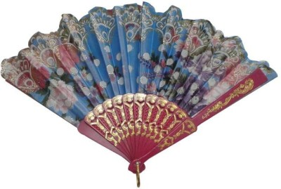 ShopeGift Foldable Floral Print Multicolor Hand Fan(Pack of  1)